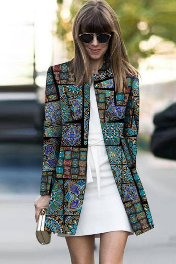Fashion Printed Colour Long Sleeve Coat Same As Photo s