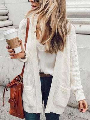 White Long Sleeves Cardigan Top WHITE S