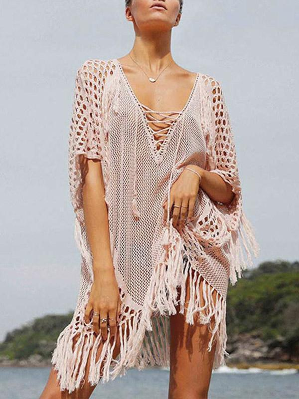 Knitting Tasseled Cover-Ups Swimwear PINK