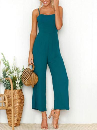 Solid Color Spaghetti-neck Wide Leg Jumpsuits BLUE S