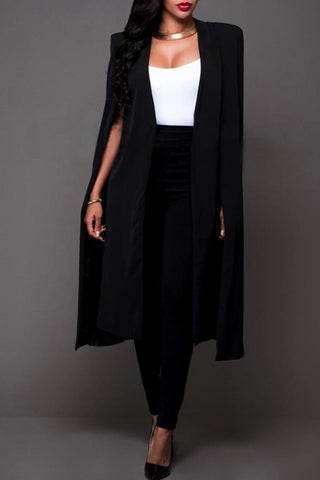 Roaso Casual Sleeveless Cloak Design Coat S Black