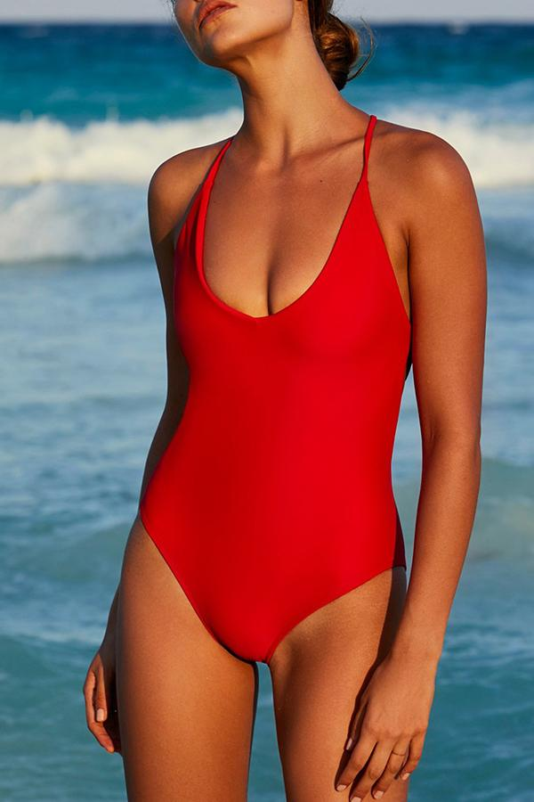 Roaso Sexy Backless One-piece Swimwears S Rose Red