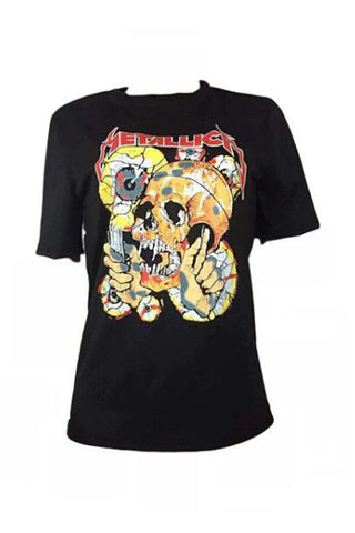 Roaso Casual Skull Printed T-shirt M Black