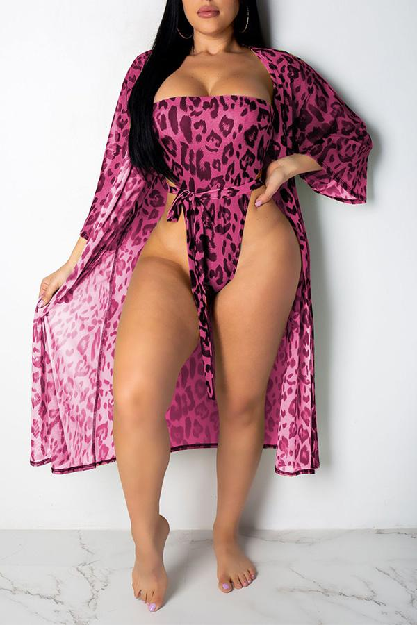 Roaso Sexy Printed One-piece Swimwears (With CoverUps) S Rose Red