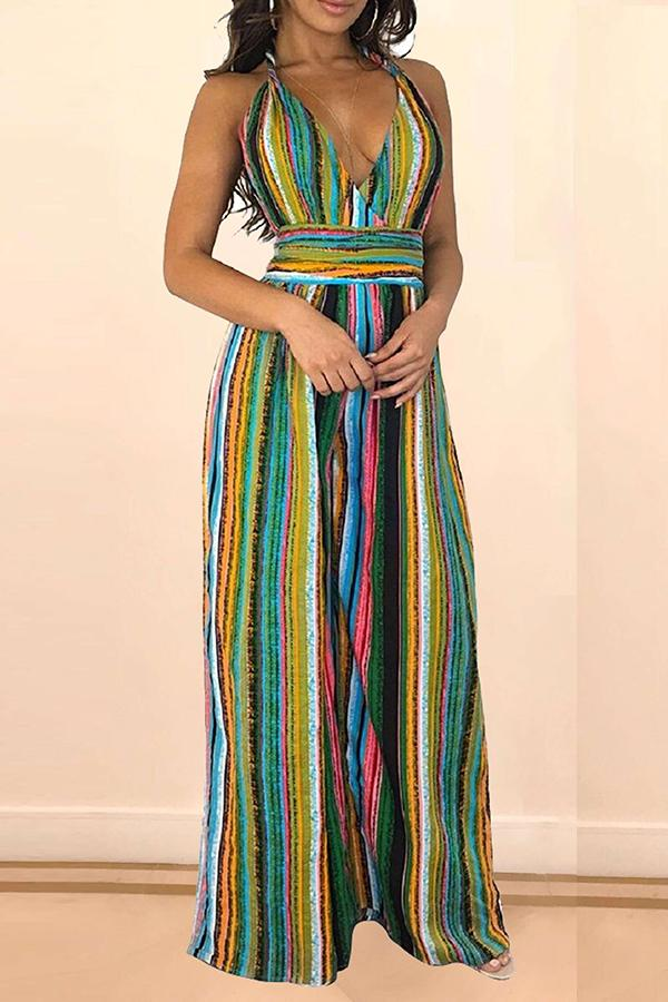 Roaso Bohemian Backless Striped One-piece Jumpsuit S Multicolor Mstn