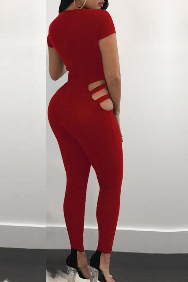 Roaso Sexy Hollowed-out Skinny One-piece Jumpsuit L Red