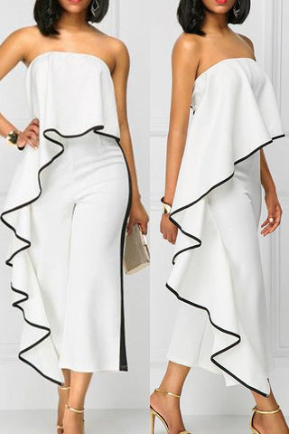 Roaso Chic Flounce Design One-piece Jumpsuit S White