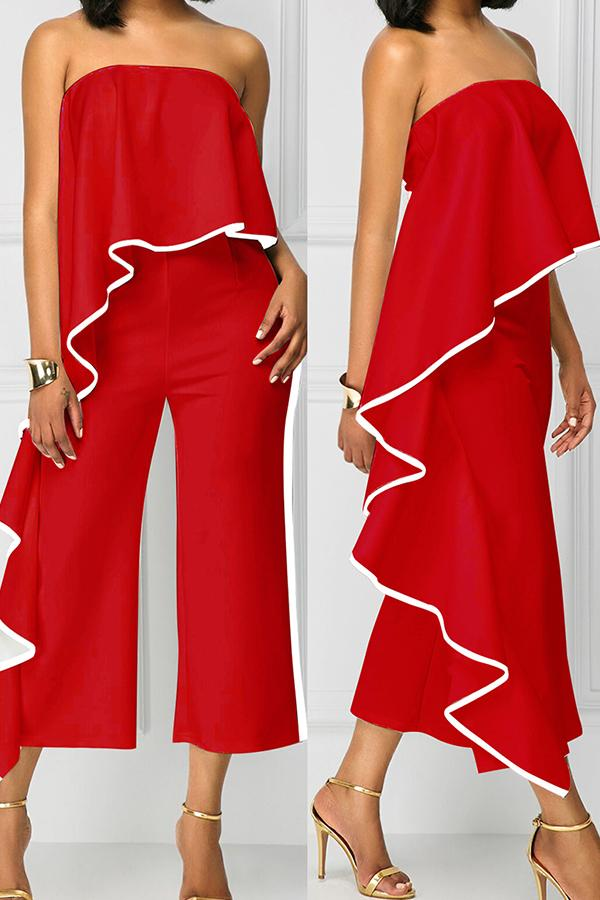 Roaso Chic Flounce Design One-piece Jumpsuit S Red