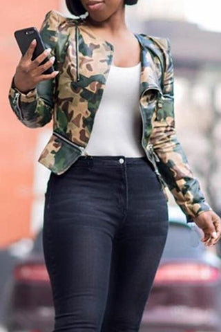 Image of Roaso Casual Camouflage Printed PU Jacket M Camo