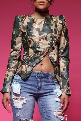 Image of Roaso Casual Camouflage Printed PU Jacket L Camo