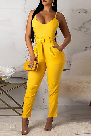 Roaso Casual Lace-up Skinny Jumpsuit(With Belt) S Yellow