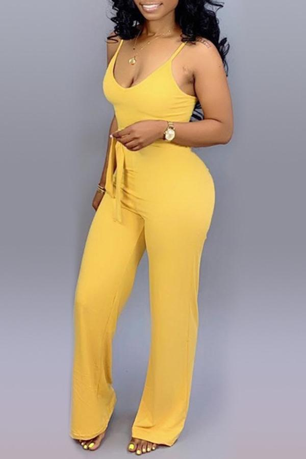Roaso Lace-up Jumpsuit S Yellow