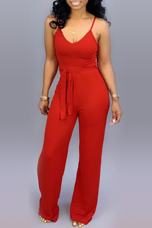 Roaso Lace-up Jumpsuit S Red