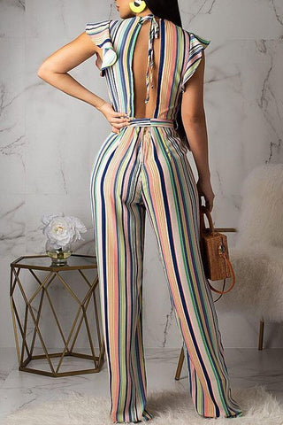 Roaso  Contracted Style Striped Jumpsuit M Multi