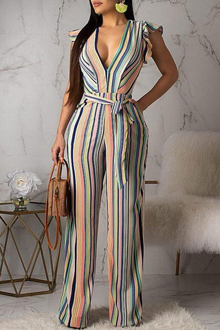 Roaso  Contracted Style Striped Jumpsuit S Multi