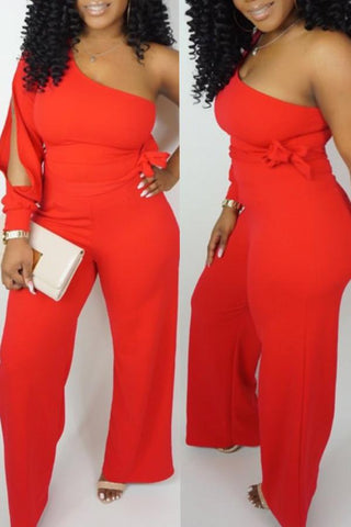 Roaso Casual One Shoulder Asymmetrical Jumpsuit S Red