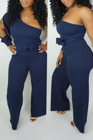 Image of Roaso Casual One Shoulder Asymmetrical Jumpsuit S Blue