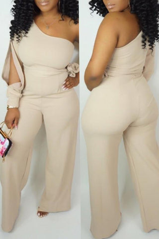 Image of Roaso Casual One Shoulder Asymmetrical Jumpsuit S Beige