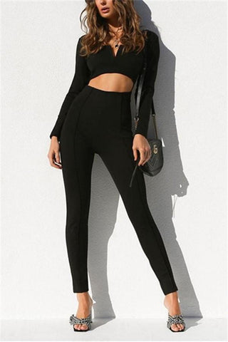 Image of Casual Fashion Pure   Color Long Sleeves Sexy Backless Jumpsuits Black s