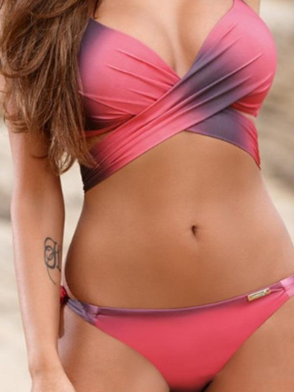 Plus Size Candy Color Bikinis Swimwear 4 S