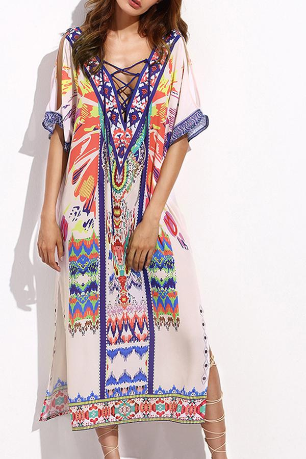 Fashion Printed Colour Loose Slit Maxi Dresses White one size
