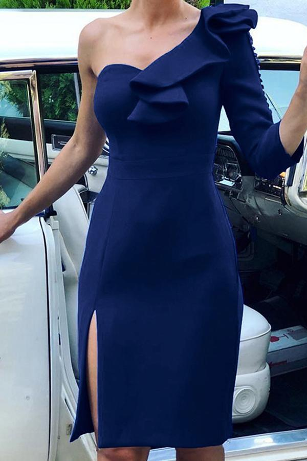 Sexy Sloping Shoulder Slit Evening Dress Blue m