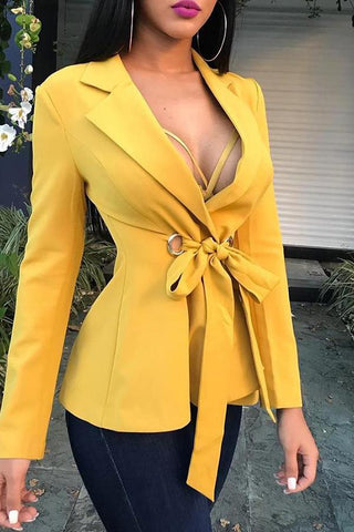 Image of Fashion Long Sleeve   Frenulum Shown Thin Suit  Jacket Coat Yellow s