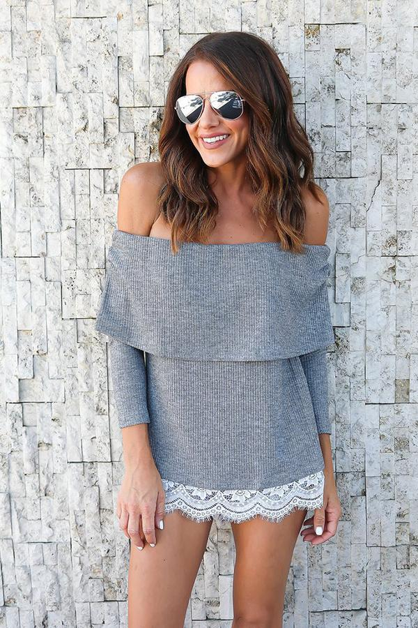Sexy Casual Sleeves With A Collar T-Shirt Gray s