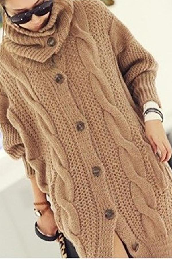 Casual Thickening Pure Colour Loose Knitted Cardigan Khaki one size