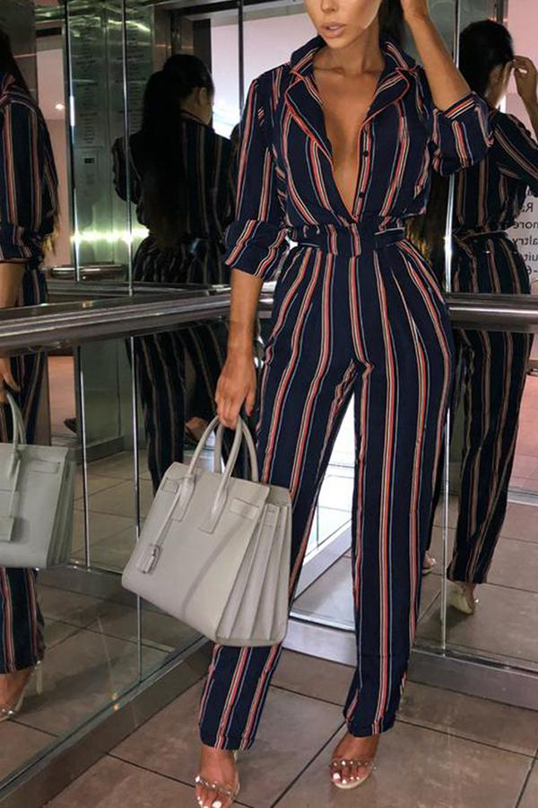 Fashion Striped Printed Colour V Neck Jumpsuits Red s