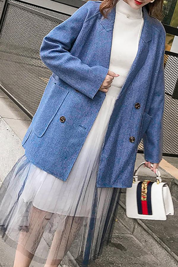 Fashion Loose Plain   Color Coat Blue s