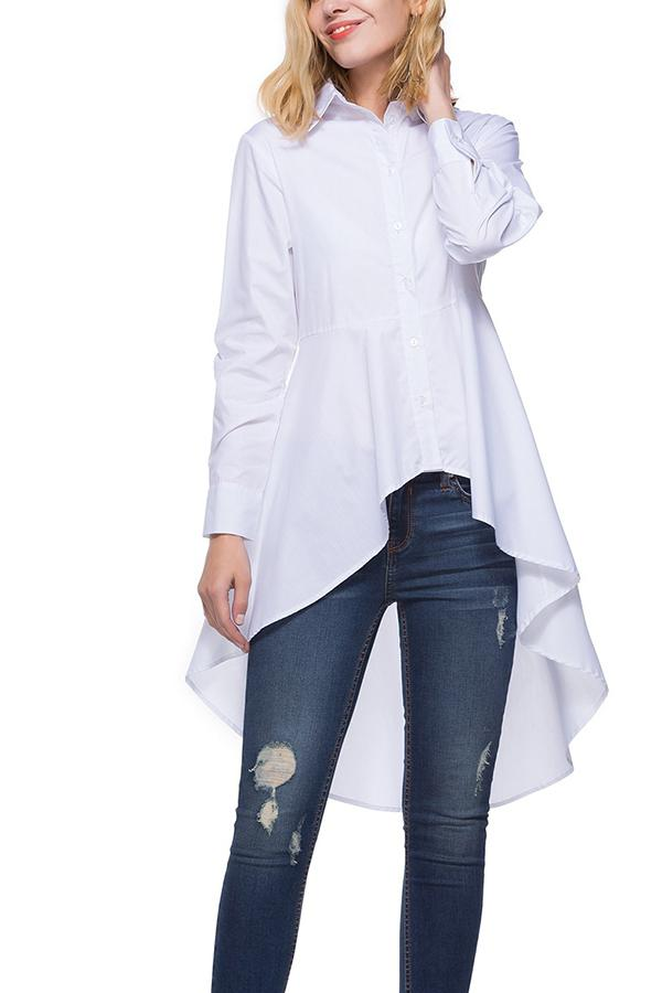 Fashion Loose Pure   Color Long Shirt White s