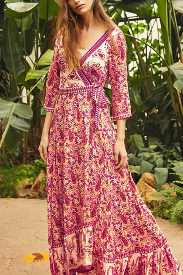 Bohemian Style Women's   Seaside Holiday Floral Print Maxi Dresses Same As Photo m