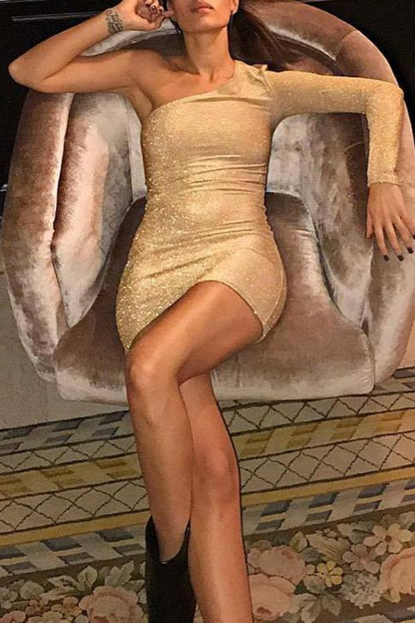 Sexy Elegant Single Shoulder Sleeve Bodycon Dresses Gold s