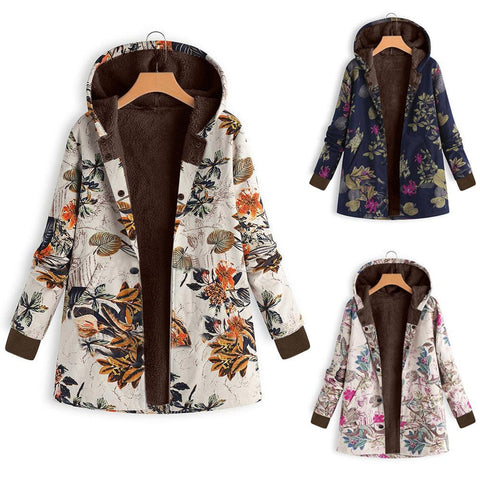 Image of Long-Sleeved Hooded   Thick Plush Retro Flower Print Large Size Hooded Jacket Green m