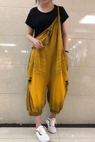 Image of Cotton\/LINE Hollow Out  Wide Leg Jumpsuit yellow one size