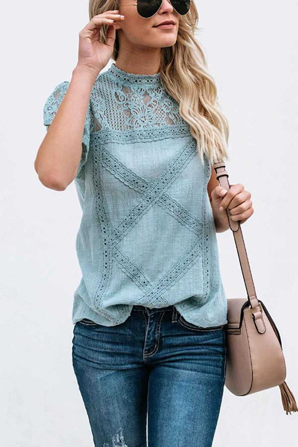 Fashion Lace Hollow Out Splicing Short Sleeve T-Shirt Blue s