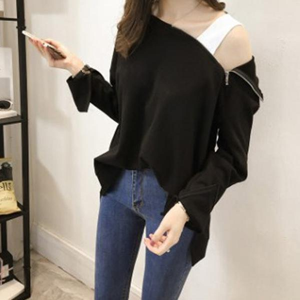 Fashion Sexy Off The   Shoulder Hoodies Blouse Black l