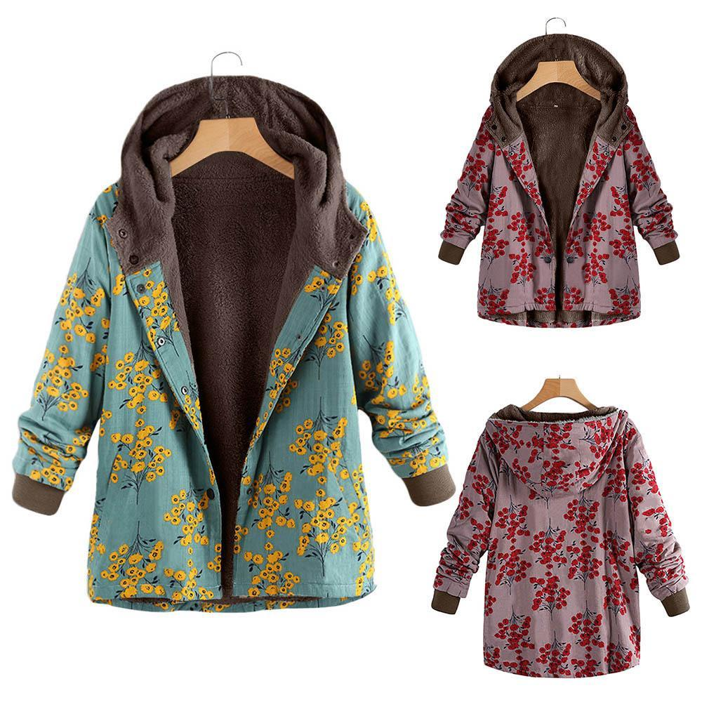 Long-Sleeved Hooded   Thick Plush Retro Flower Print Large Size Hooded Jacket Green l