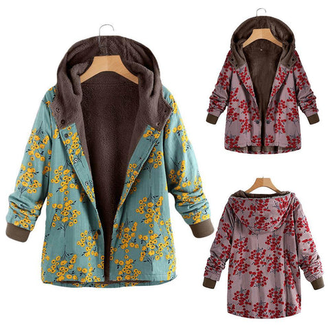 Image of Long-Sleeved Hooded   Thick Plush Retro Flower Print Large Size Hooded Jacket Green l