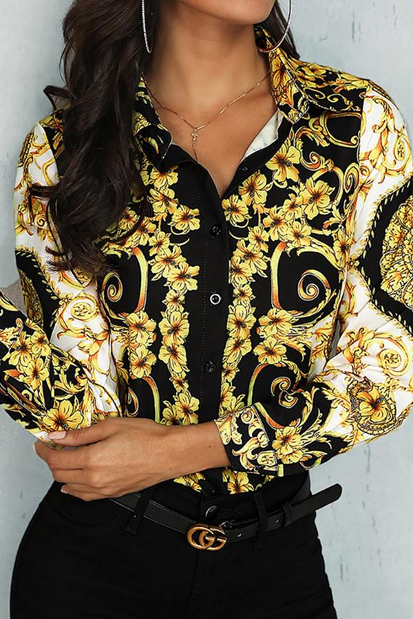 Fashion Turndown Collar Printed Colour Shirt Yellow m