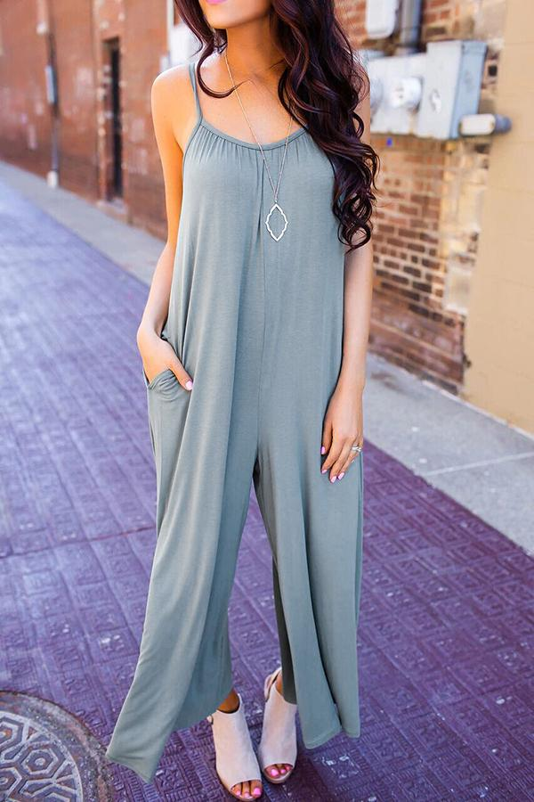 Casual Sexy V Neck   Sling Wide Leg Jumpsuit Gray s