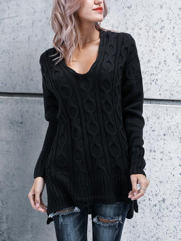 Image of Chic Casual Loose Plain V Collar Long Sleeve Thermal Sweaters black m