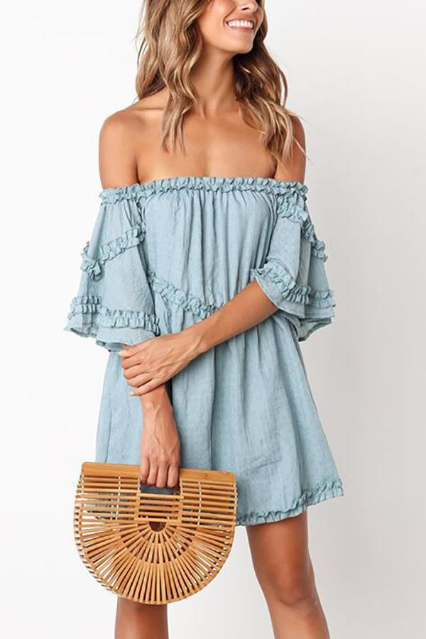 Casual Sexy Off The   Shoulder Pure Color Mini Dresses Light Blue s