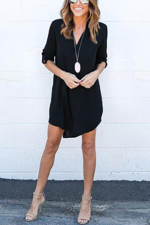 Black Chiffon Asymmetric Hem Plain Shift Casual Dresses black s