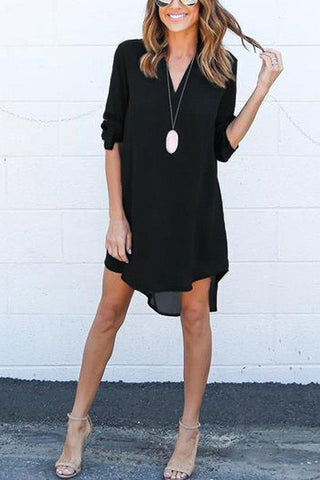 Black Chiffon Asymmetric Hem Plain Shift Casual Dresses black l