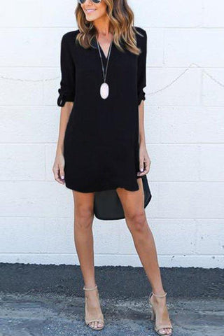 Black Chiffon Asymmetric Hem Plain Shift Casual Dresses black m