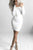 White Open Shoulder Sheath Long Sleeve Bodycon Dress white m