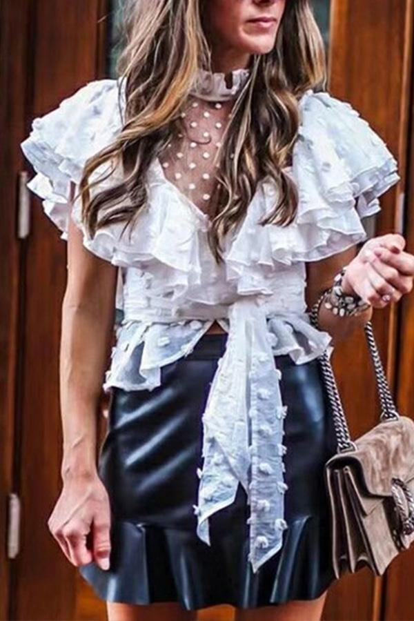 Sexy See-Through Lace Stand Up Collar Ruffled Point Shirt White s