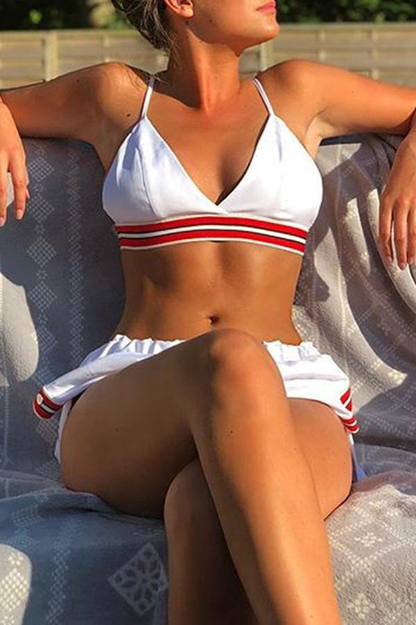 Sexy Bikini Solid Color Three-Piece Split Swimsuit White s